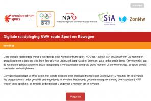 Digitale raadpleging voor de Nationale Wetenschapsagenda (NWA) voor Sport en Bewegen